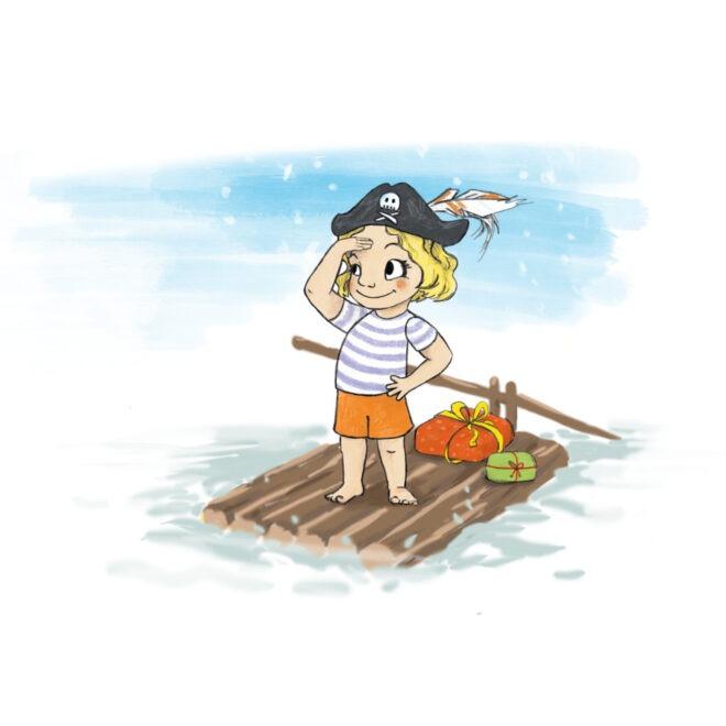 Originální ilustrace pro novoročenky s pirátkou
