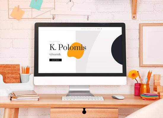 Webové stránky malíře na monitoru